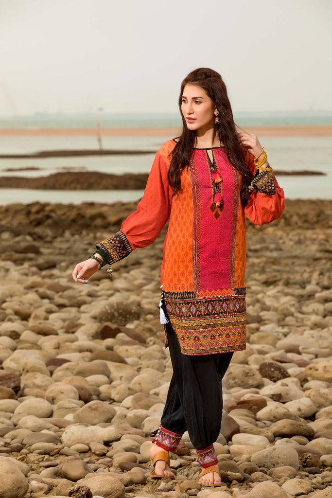 Gul Ahmed Gypsy Collection 2018 – Pink 1 Pc Printed Shirt GS-06