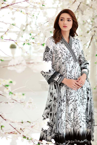 6f54997ede 24% OFF Sold Out Gul Ahmed Summer Premium Collection 2018 – Black & White 3  Pc Embroidered Chiffon C-