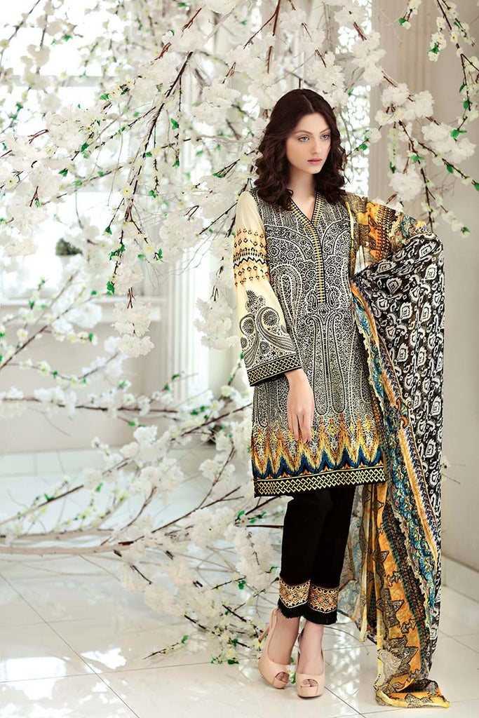 Gul Ahmed Summer Premium Collection 2018 – Black 3 Pc Embroidered Chiffon C-495