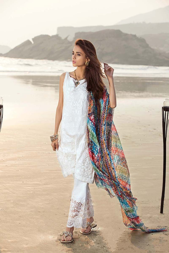 Gul Ahmed Summer Premium Collection 2018 – White 3 Pc Embroidered Chiffon C-503