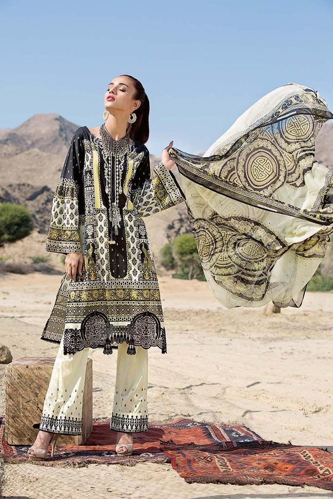 Gul Ahmed Summer Premium Collection 2018 – Black 3 Pc Embroidered Chiffon C-520