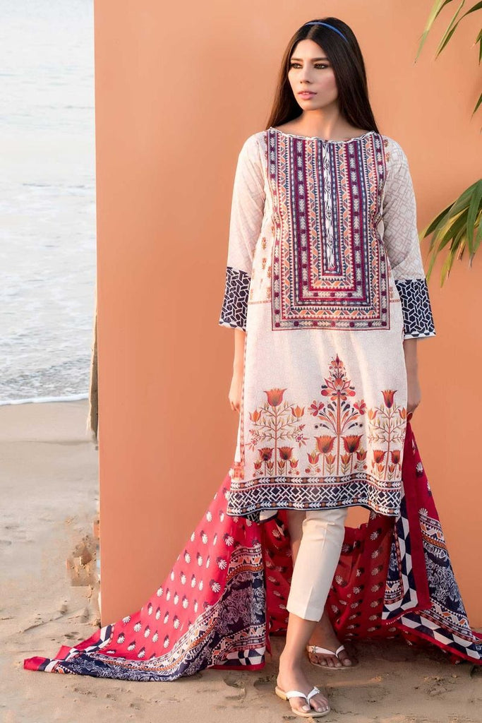 Khaadi Tropical Escape Lawn Collection 2018 – C18101 Beige 3Pc