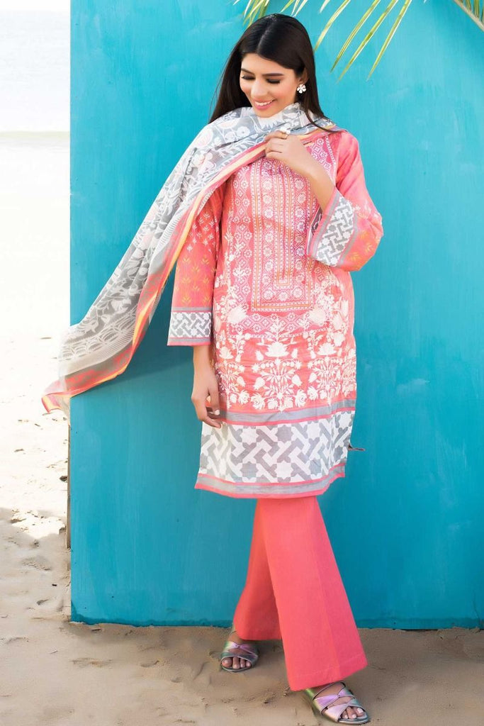 Khaadi Tropical Escape Lawn Collection 2018 – C18104 Pink 3Pc