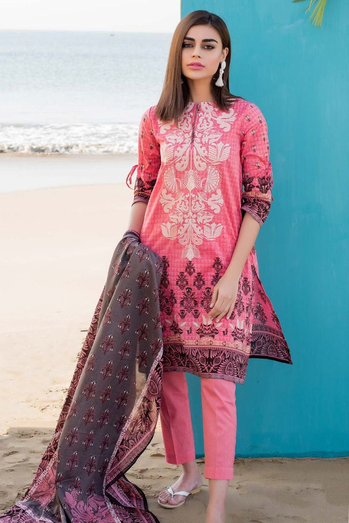 Khaadi Tropical Escape Lawn Collection 2018 – C18105 Pink 3Pc