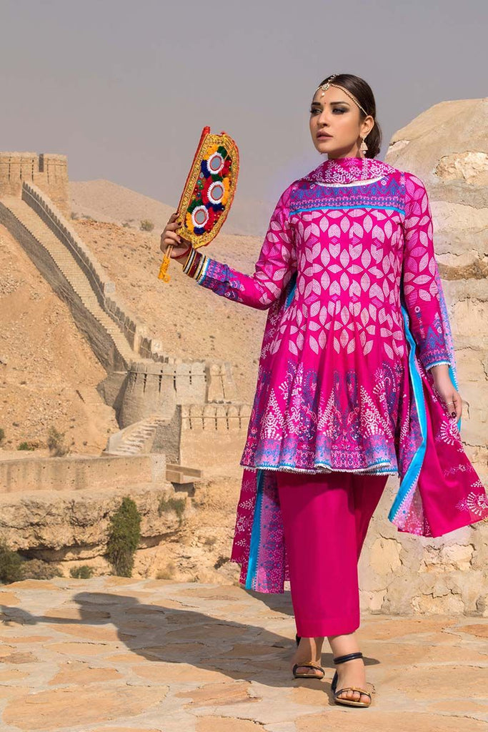 Gul Ahmed Summer Essential Collection 2018 – Magenta  3 Pc Printed Lawn CL-265 A