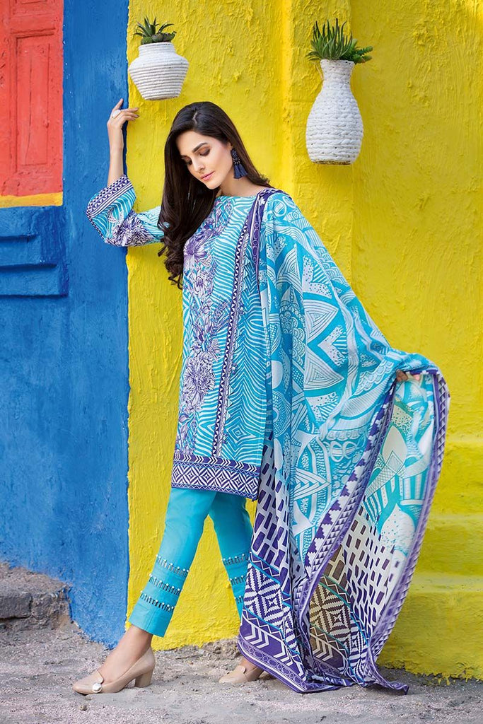 Gul Ahmed Summer Essential Collection 2018 – Blue 3 Pc Printed Lawn CL-303 A
