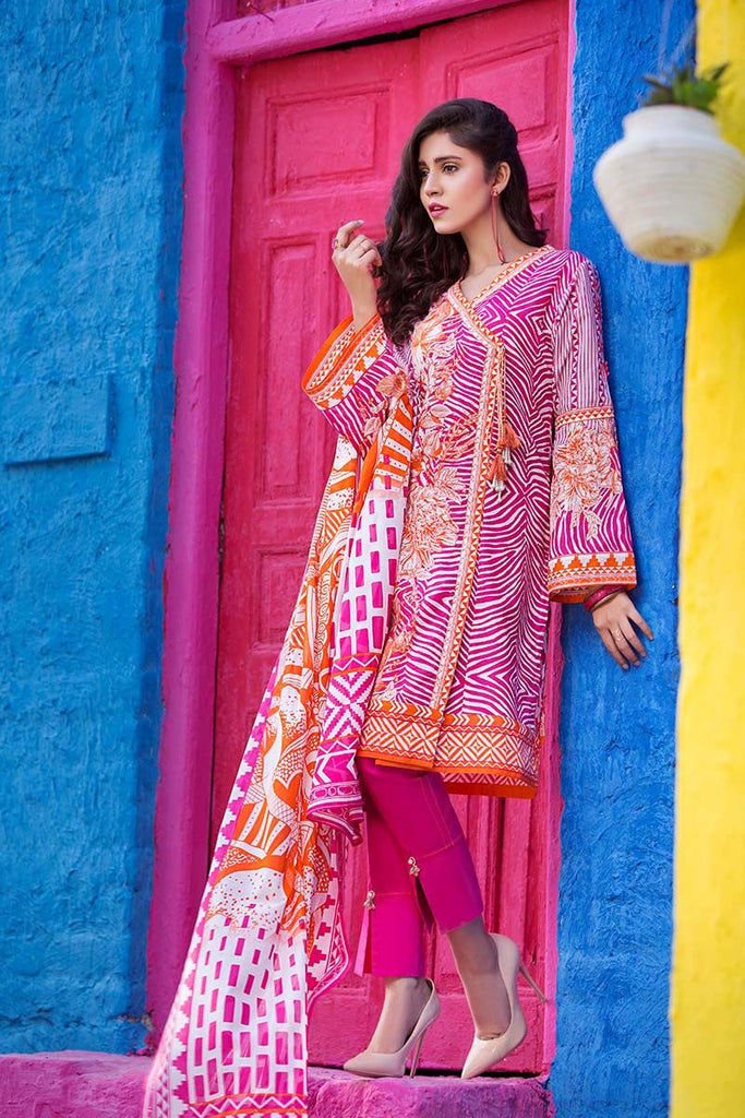 Gul Ahmed Summer Essential Collection 2018 – Pink 3 Pc Printed Lawn CL-303 B