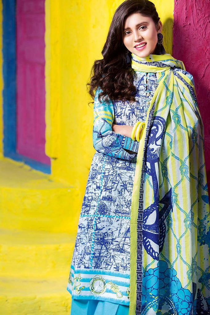 Gul Ahmed Summer Essential Collection 2018 – Blue 3 Pc Printed Lawn CL-304 B