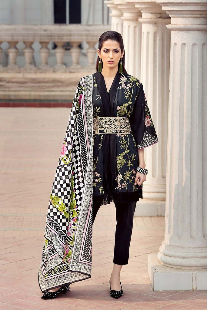 Gul Ahmed Summer Essential Collection 2018 – Black 3 Pc Embroidered Lawn CL-318