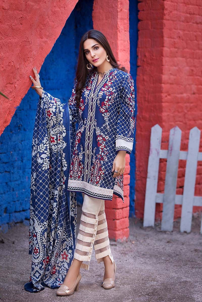 Gul Ahmed Summer Essential Collection 2018 – Navy Blue 3 Pc Printed Lawn CL-322 A