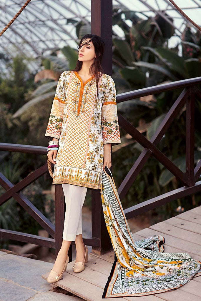 Gul Ahmed Summer Essential Collection 2018 – Off White 3 Pc Embroidered Lawn CL-340 A