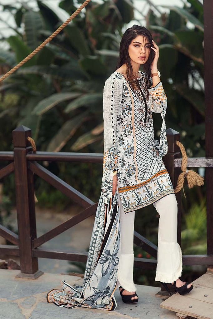 Gul Ahmed Summer Essential Collection 2018 – White 3 Pc Embroidered Lawn CL-340 B