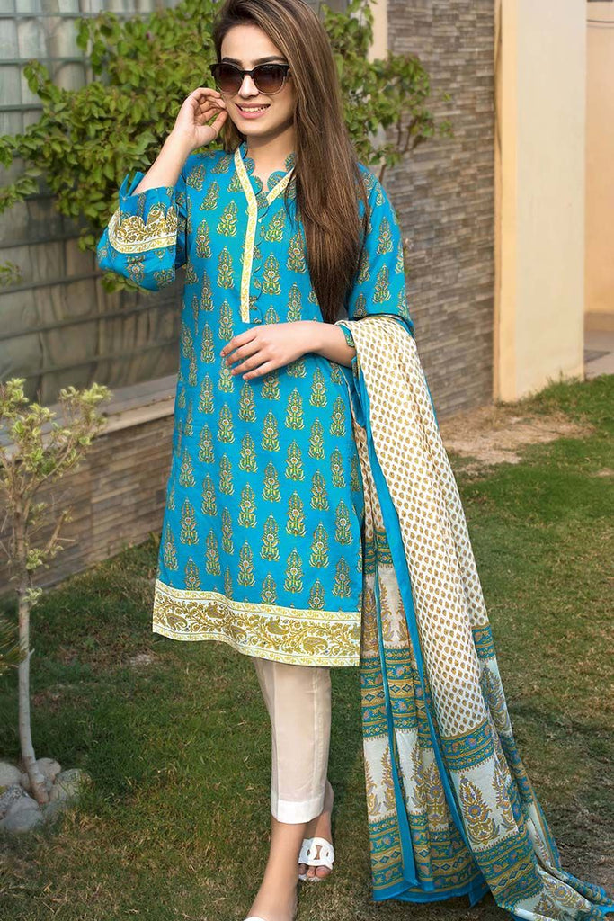 Gul Ahmed Summer Essential Collection 2018 – Ferozi 3 Pc Printed Lawn CL-343 A