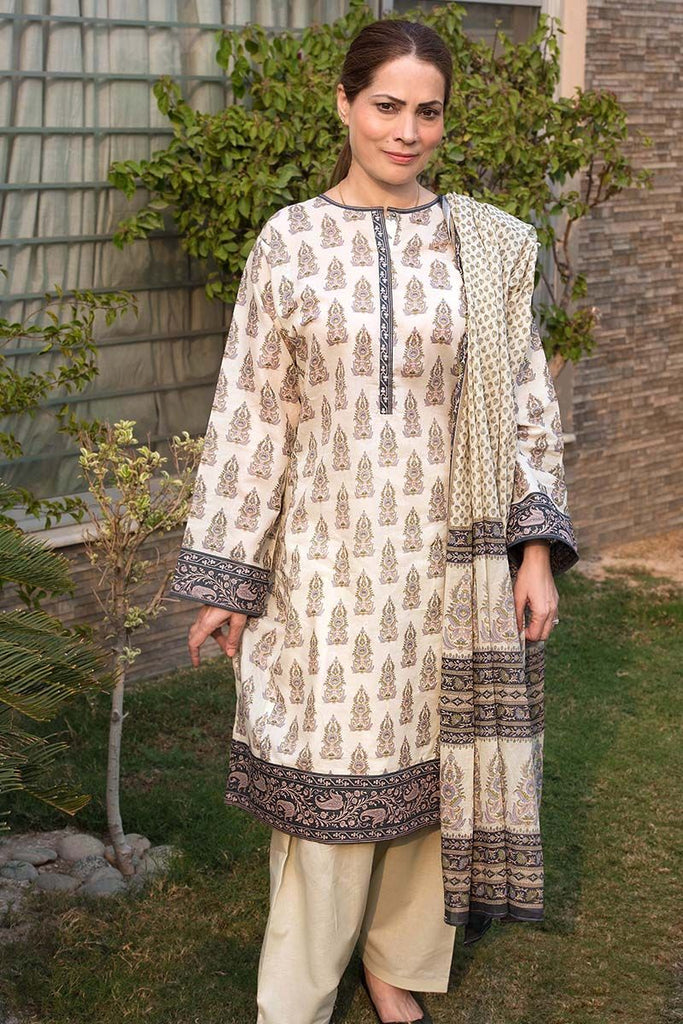 Gul Ahmed Summer Essential Collection 2018 – Beige 3 Pc Printed Lawn CL-343 B