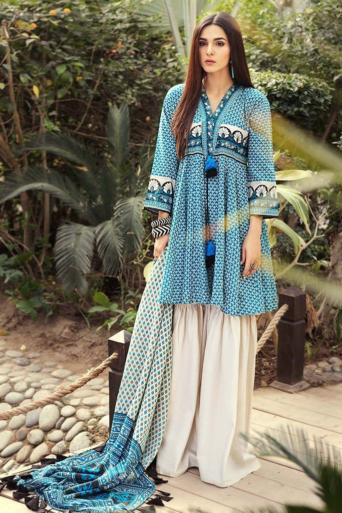 Gul Ahmed Summer Essential Collection 2018 – Blue 3 Pc Printed Lawn CL-345 B