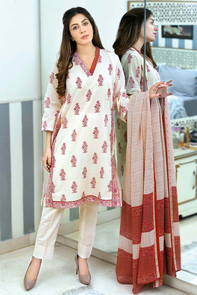 Gul Ahmed Summer Essential Collection 2018 – Burgundy 3 Pc Printed Lawn CL-355 B
