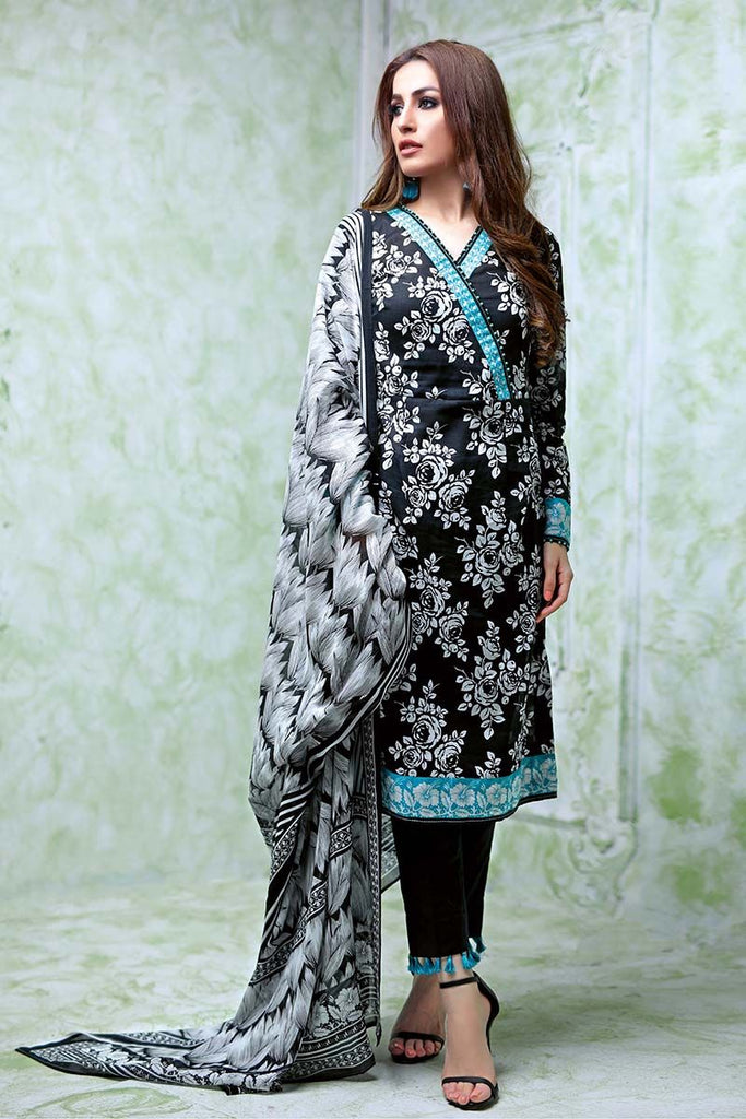 Gul Ahmed Summer Essential Collection 2018 – Black & White 3 Pc Printed Lawn CL-361