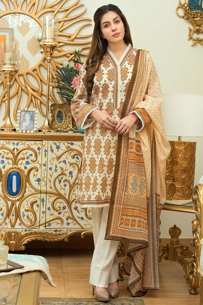 Gul Ahmed Summer Essential Collection 2018 – Light Brown 3 Pc Printed Lawn CL-362 B