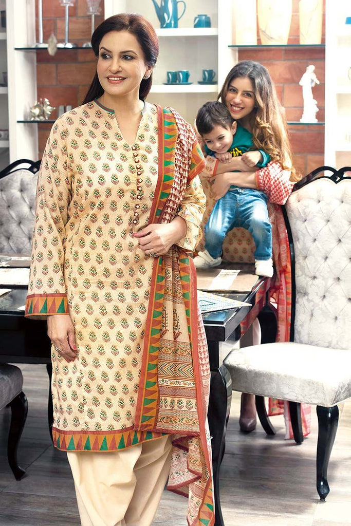 Gul Ahmed Summer Essential Collection 2018 – Light Brown 3 Pc Printed Lawn CL-365 A