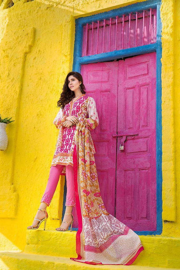 Gul Ahmed Summer Essential Collection 2018 – Pink 3 Pc Printed Lawn CL-373 B