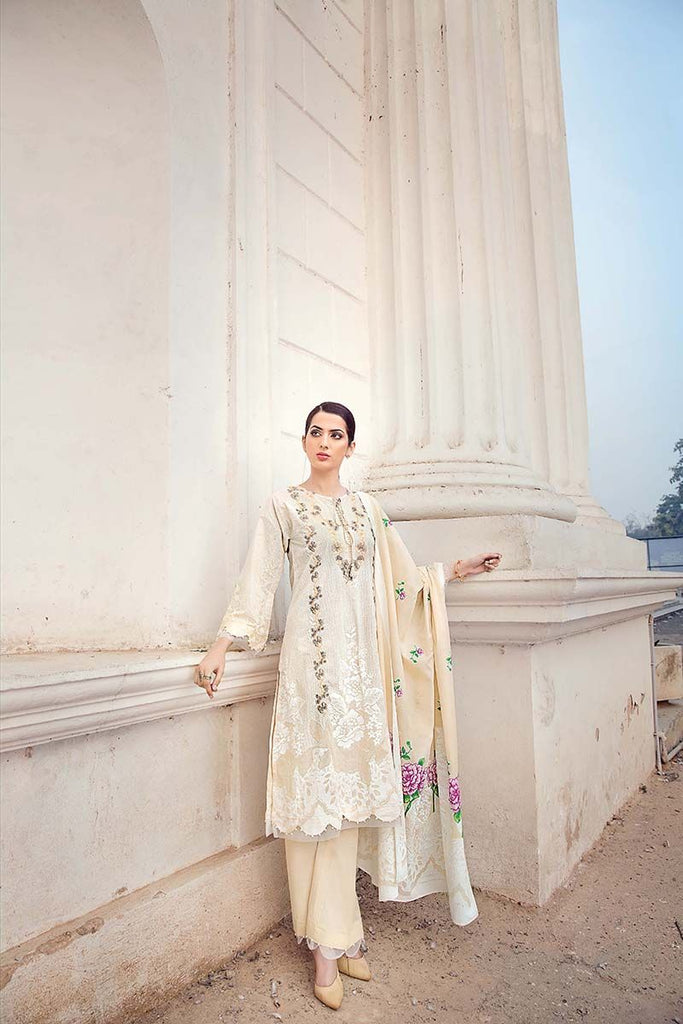 Gul Ahmed Summer Essential Collection 2018 – Beige 3 Pc Embroidered Lawn CL-375 B