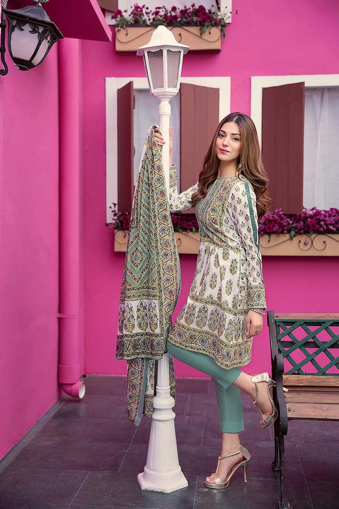 Gul Ahmed Summer Essential Collection 2018 – Sea Green 3 Pc Printed Lawn CL-376 A
