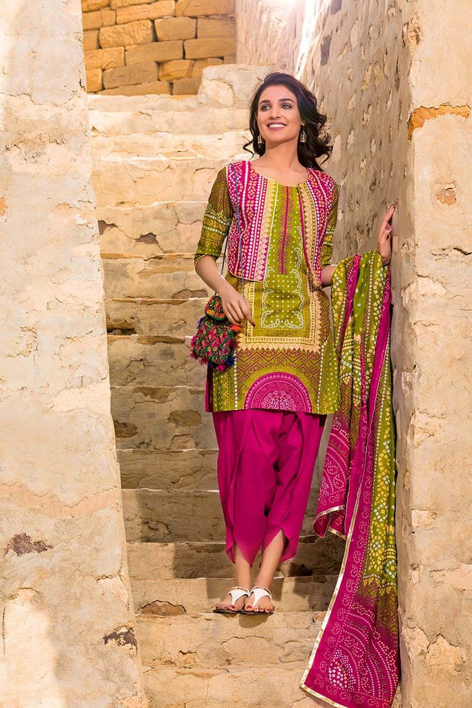 Gul Ahmed Summer Essential Collection 2018 – Mehindi 3 Pc Printed Lawn CL-377 A
