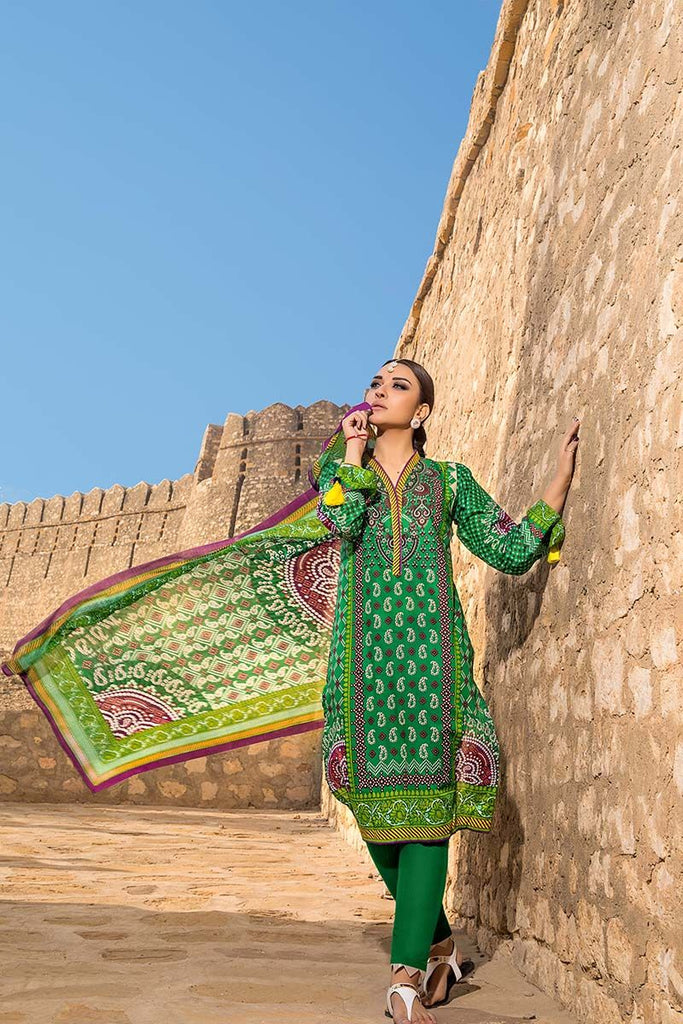 Gul Ahmed Summer Essential Collection 2018 – Green 3 Pc Printed Lawn CL-378 A