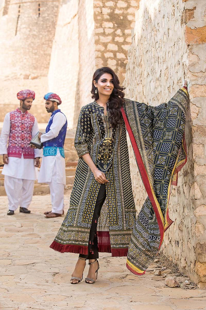 Gul Ahmed Summer Essential Collection 2018 – Black 3 Pc Printed Lawn CL-379 A