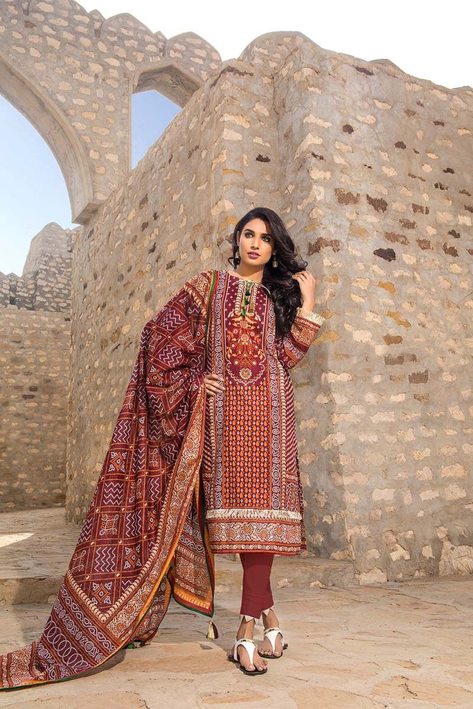Gul Ahmed Summer Essential Collection 2018 – Maroon 3 Pc Printed Lawn CL-379 B