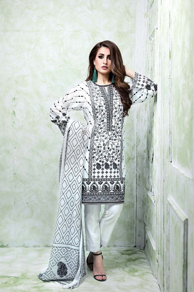 Gul Ahmed Summer Essential Collection 2018 – Black & White 3 Pc Printed Lawn CL-384