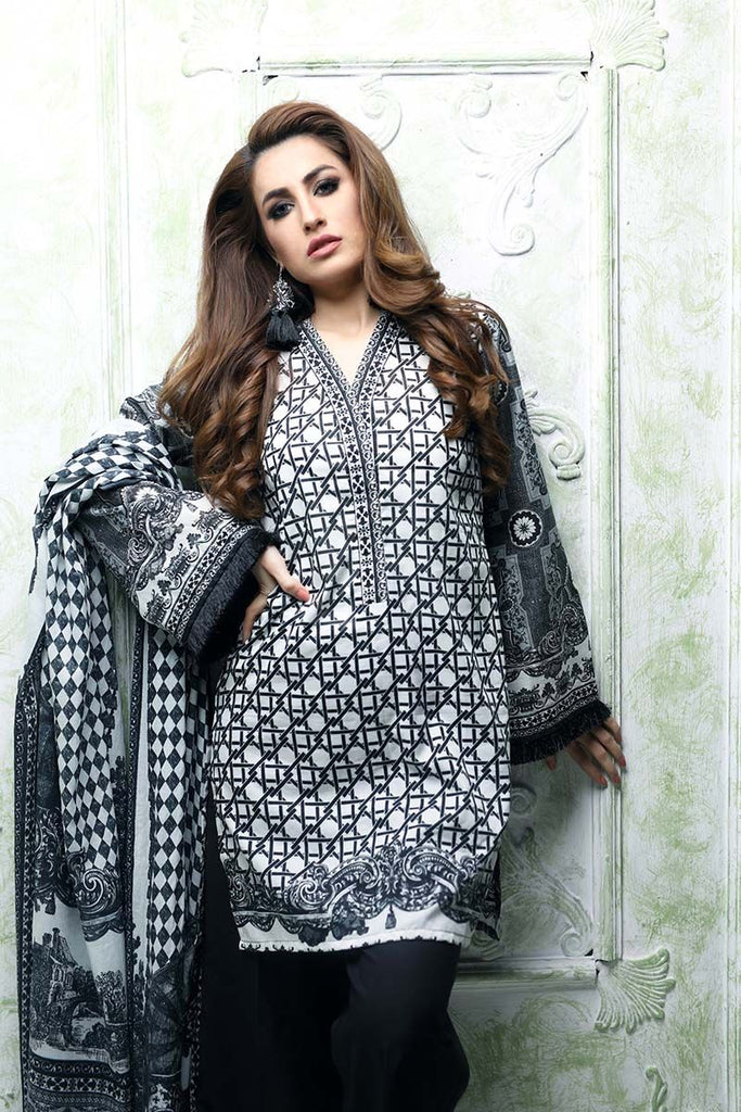 Gul Ahmed Summer Essential Collection 2018 – Black & White 3 Pc Printed Lawn CL-395