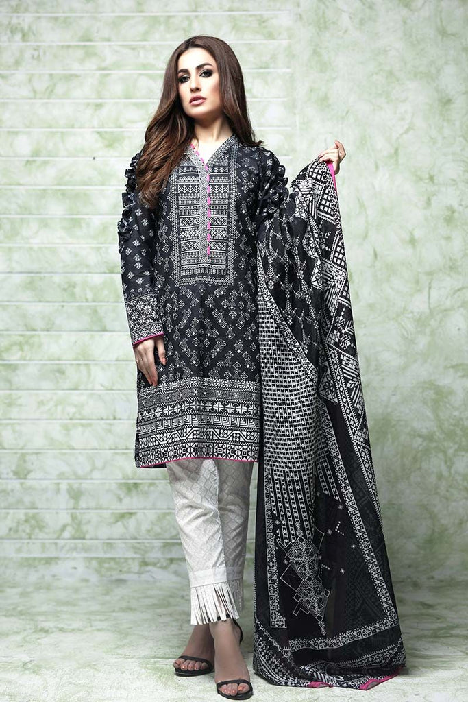Gul Ahmed Summer Essential Collection 2018 – Black & White 3 Pc Printed Lawn CL-396