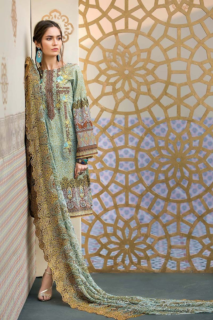 Gul Ahmed Summer Premium Collection 2018 – Mehindi 3 Pc Embroidered Chiffon CT-236