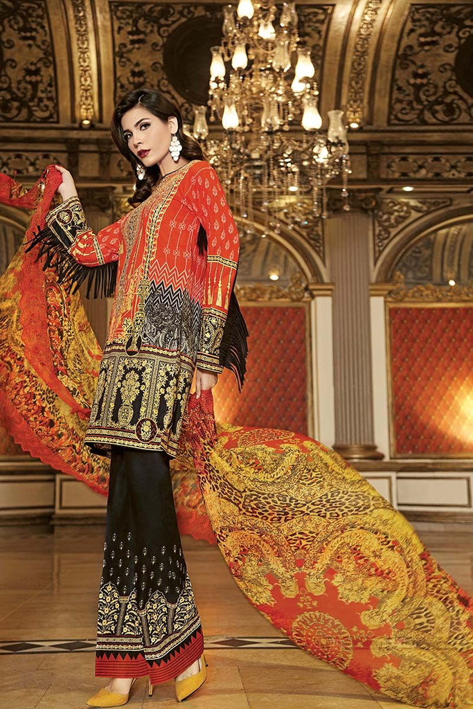 Gul Ahmed Summer Premium Collection 2018 – Orange 3 Pc Embroirdered Chiffon CT-238