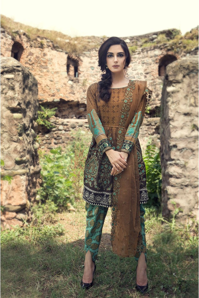 MARIA.B EID Lawn Collection '16 – Brown D-307 - YourLibaas
