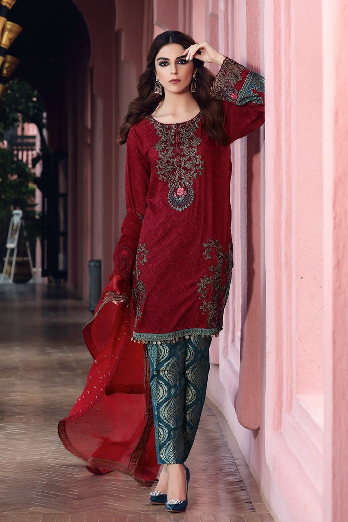 MARIA.B Eid Lawn Collection 2017 – D-404 Maroon