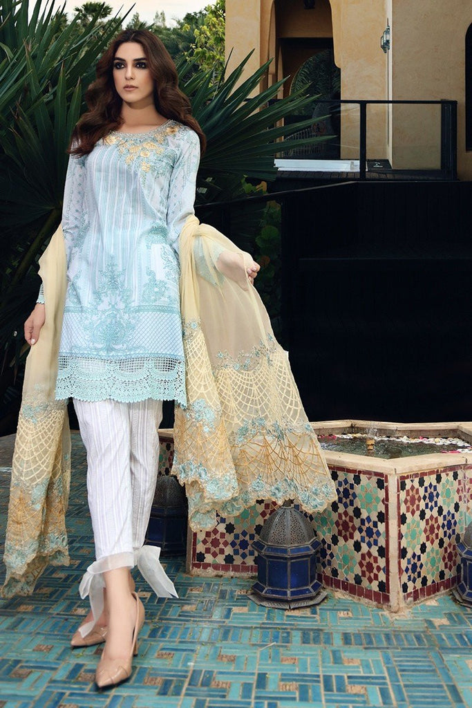 MARIA.B Eid Lawn Collection 2017 – D-405 Light Blue