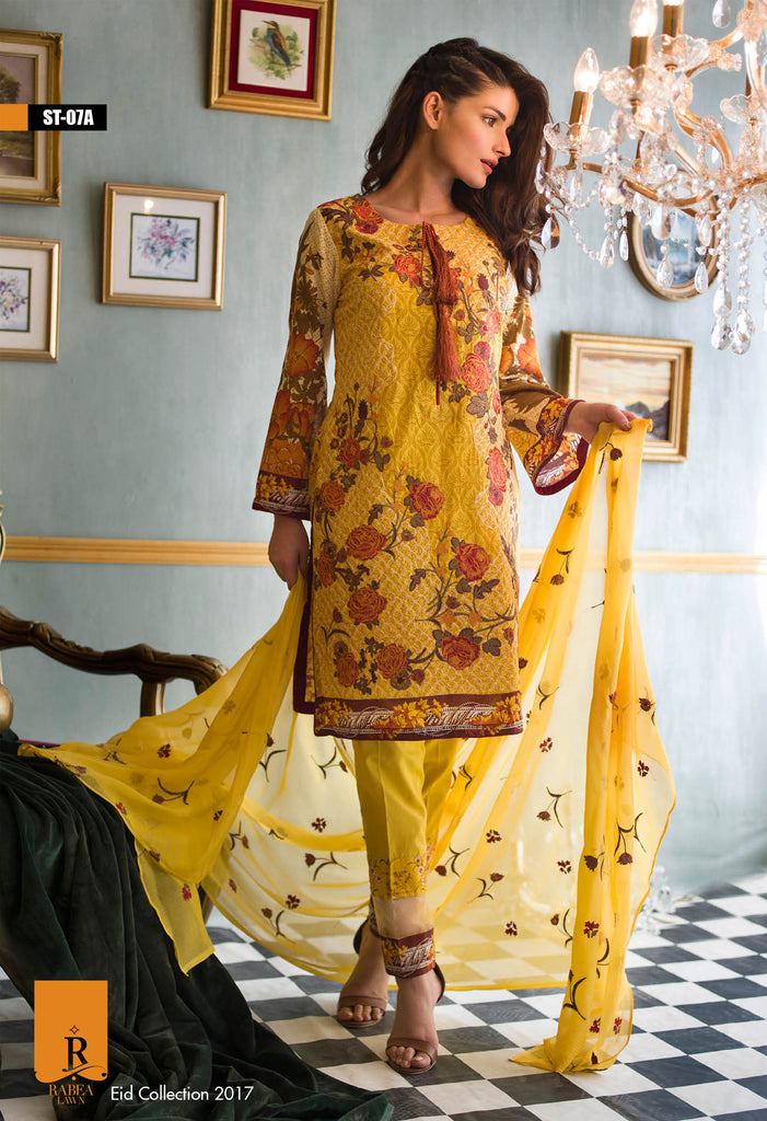 Rabea Embroidered Lawn Designer Collection – 07A