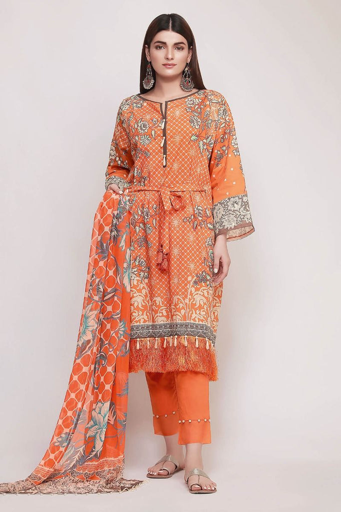 Khaadi Early Spring/Summer Lawn Collection 2019 V2 – DF19101 Orange 3Pc