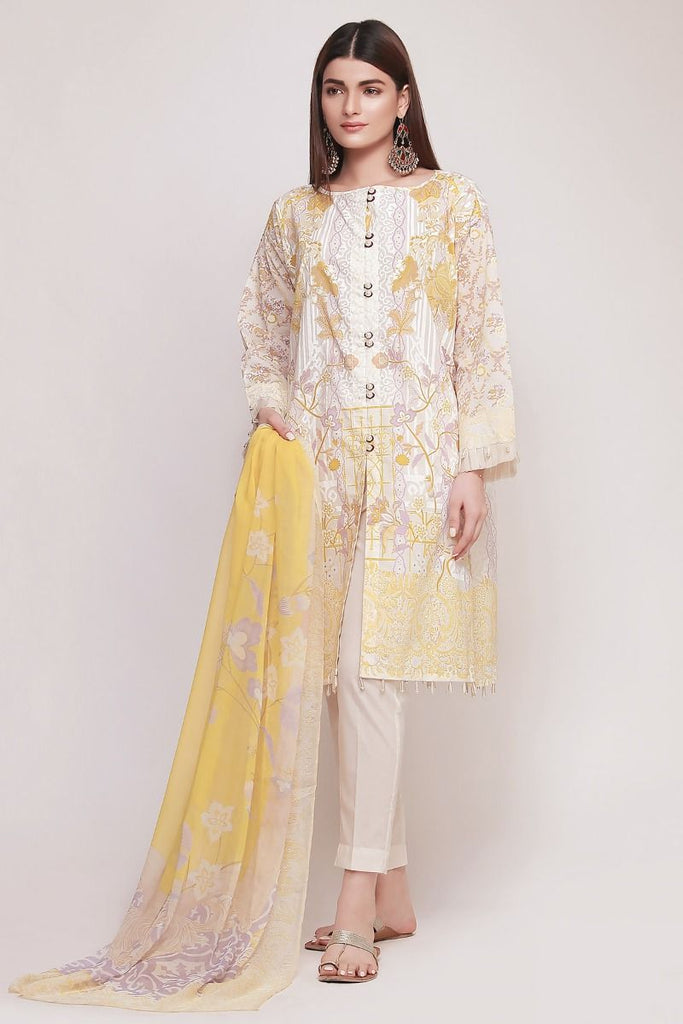 Khaadi Early Spring/Summer Lawn Collection 2019 V2 – DF19102 Yellow 3Pc