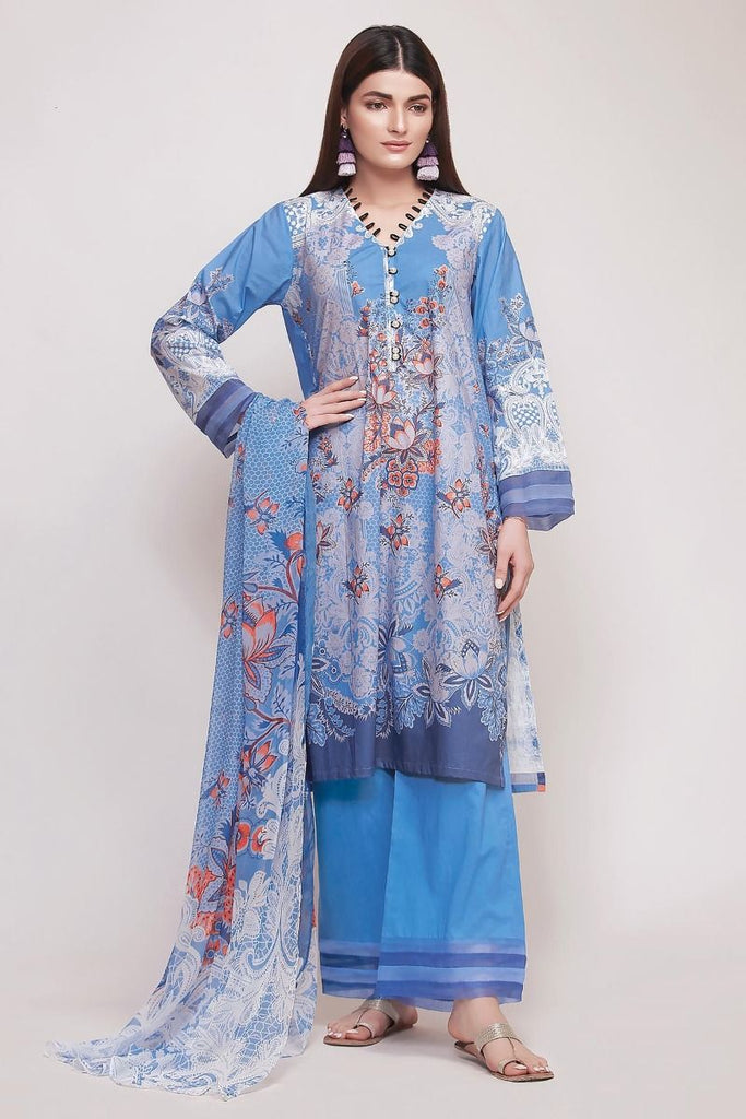 Khaadi Early Spring/Summer Lawn Collection 2019 V2 – DF19103 Blue 3Pc