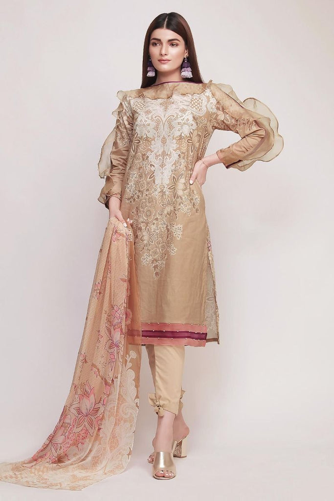 Khaadi Early Spring/Summer Lawn Collection 2019 V2 – DF19103 Brown 3Pc