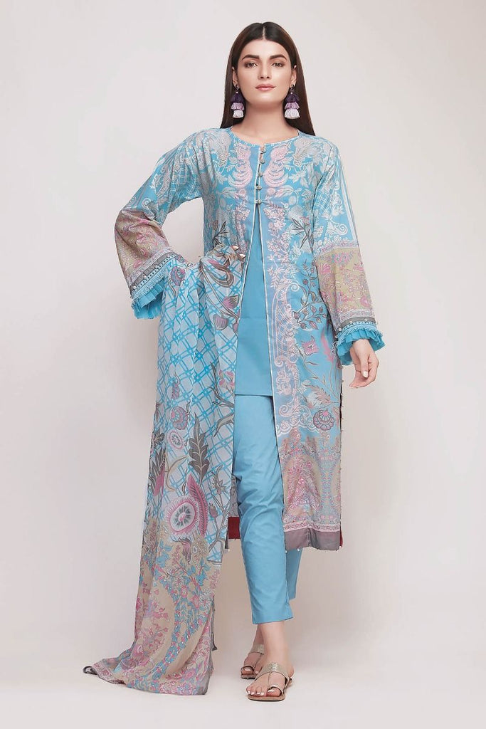 Khaadi Early Spring/Summer Lawn Collection 2019 V2 – DF19104 Blue 3Pc