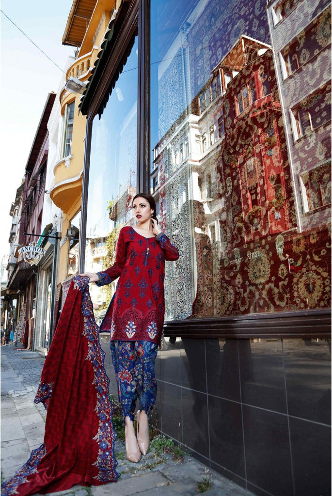 MARIA.B. Linen Winter Collection 2016 – Maroon - DL401 - YourLibaas  - 1