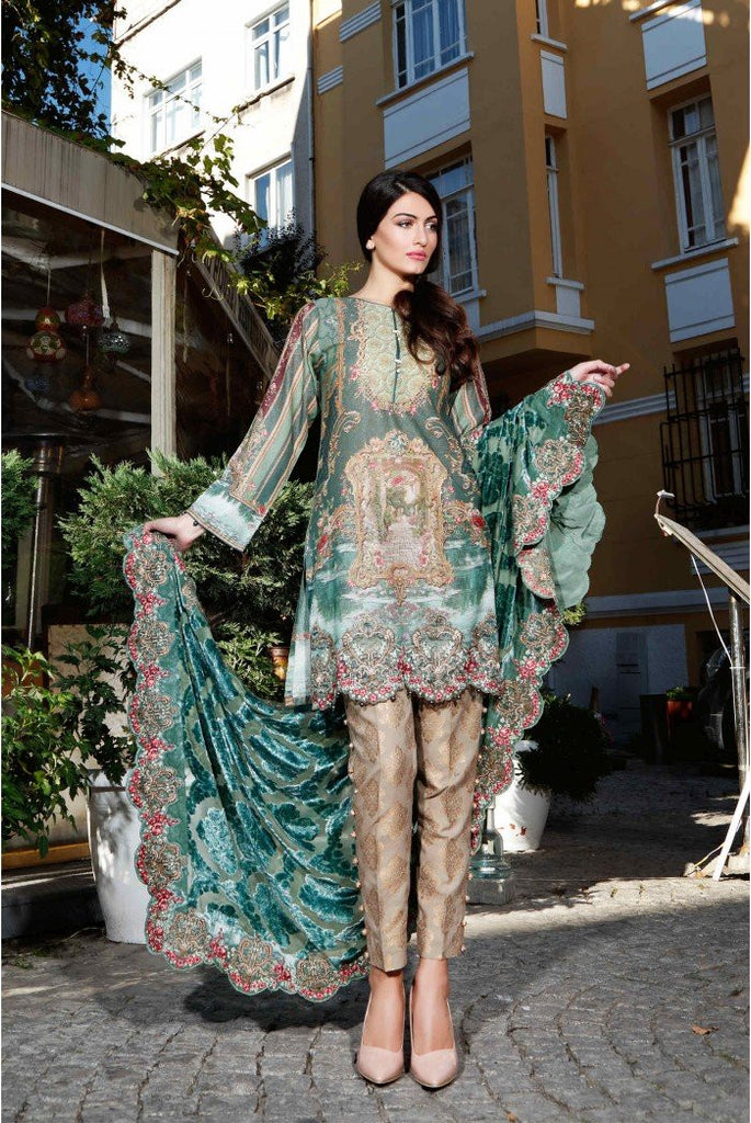 MARIA.B. Linen Winter Collection 2016 – Sea Green - DL403 - YourLibaas  - 1