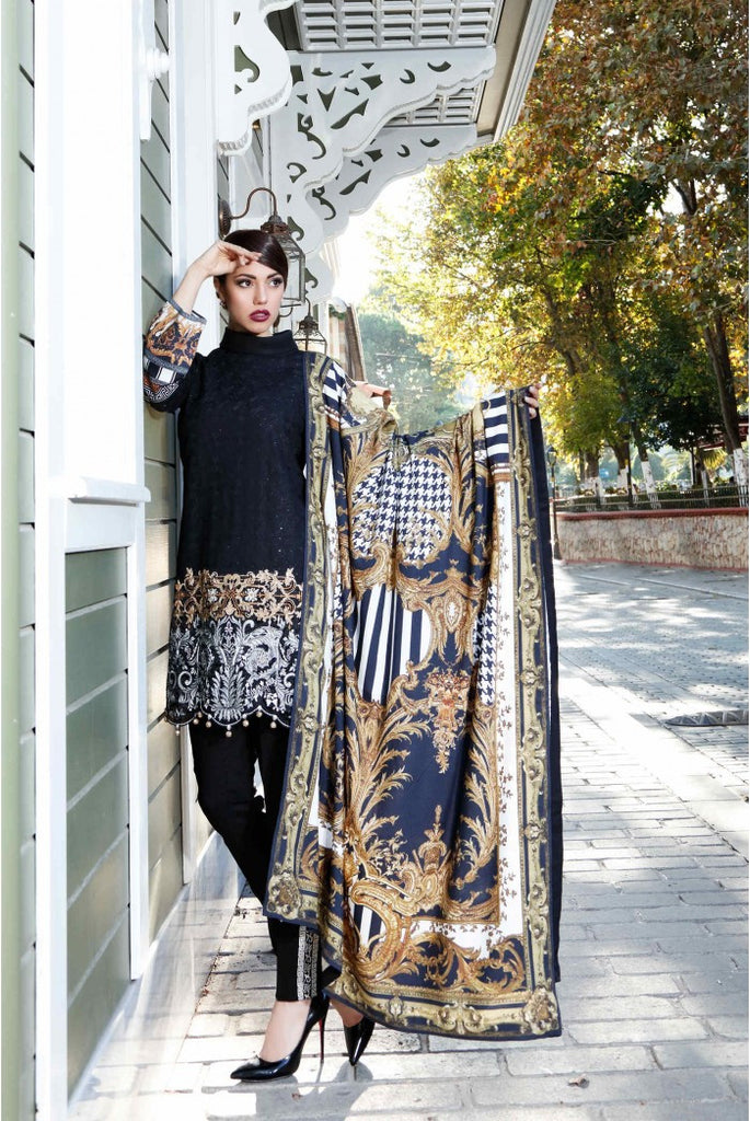 MARIA.B. Linen Winter Collection 2016 – Black - DL406 - YourLibaas  - 1