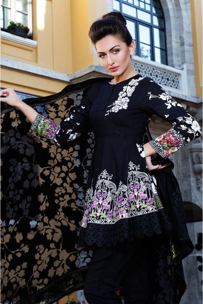 MARIA.B. Linen Winter Collection 2016 – Black - DL411 - YourLibaas  - 1