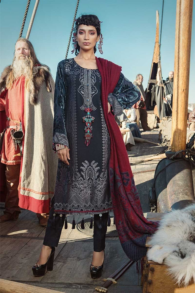 MARIA.B. Linen Winter Collection 2018 – DL-602-Navy Blue & Maroon