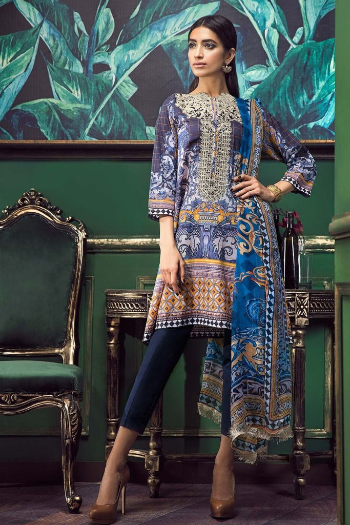 Khaadi Tropical Escape Lawn Collection 2018 – E18101 Blue 3Pc